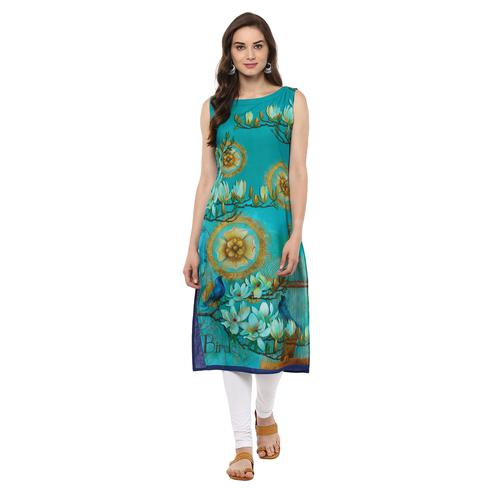 AHALYAA - Retro Floral Digital Cotton Blue Kurti with Bird Cage