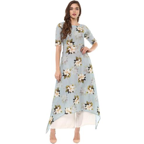 AHALYAA - Ash Blue Colored Floral Assymetrical Cotton Kurti