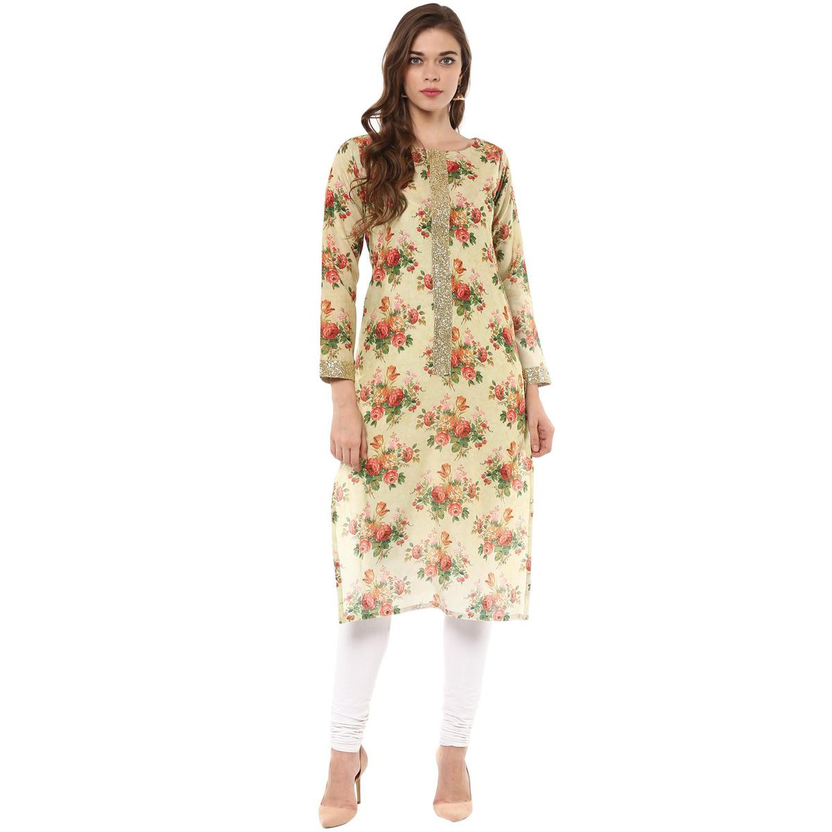 AHALYAA - Multi Colored Floral Cotton Partywear Straight Kurti