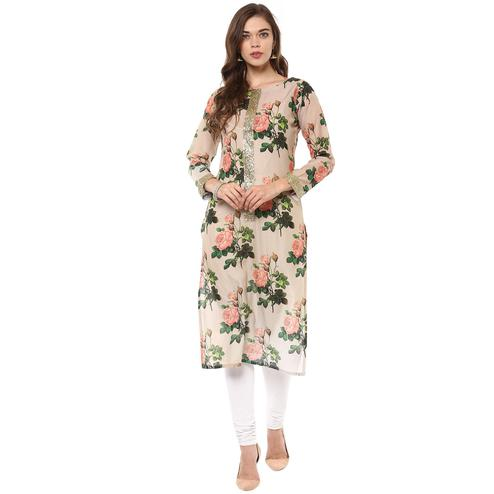 AHALYAA - Multi Colored Rose Print Floral Partywear Straight Cotton Kurti with Golden Border