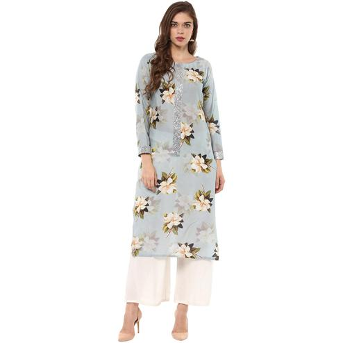 AHALYAA - Ash Blue Colored Floral Cotton Partywear Straight Kurti with Silver Border