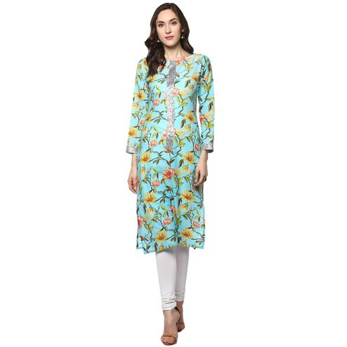 AHALYAA - Sky Blue Colored Floral Cotton Partywear Straight Kurti with Silver Border