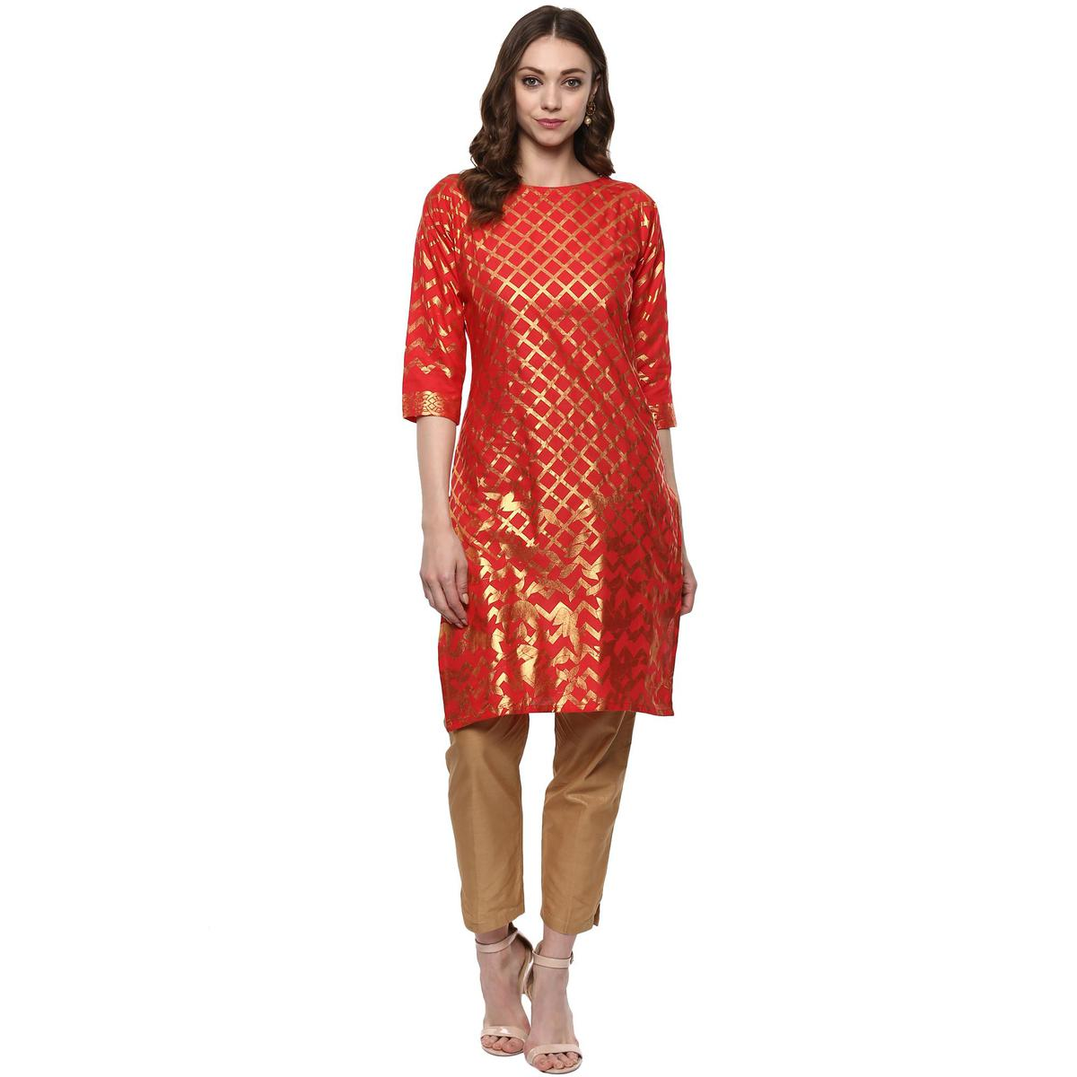 AHALYAA - Fiery Red Cotton Kurti with Metallic Gold Print