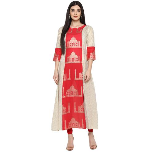 AHALYAA - Off White & Red Kurti with Taj Mahal Print and Brocade Look