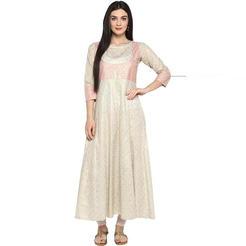 AHALYAA - Beige Colored Gold Metallic Printed Cotton kurti