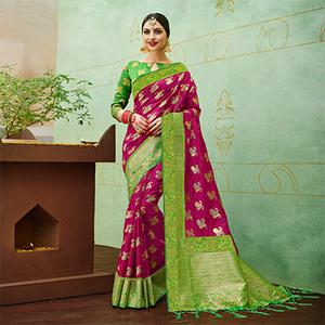 Pink-Green Colored Designer Festive Wear Banarasi Silk Saree