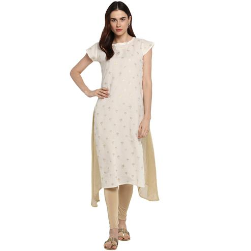 AHALYAA - Cream & Gold Cotton Kurti with Highlighted Slits