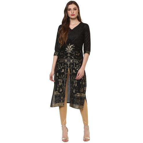 AHALYAA - Classic Black Kurti with Centre Slit embellished with Gold Tiny Glitter