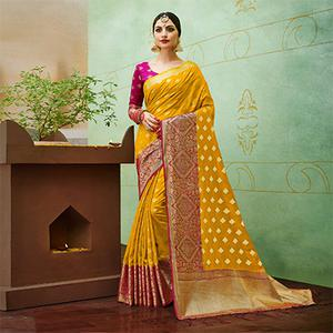 Yellow-Pink Colored Designer Festive Wear Banarasi Silk Saree