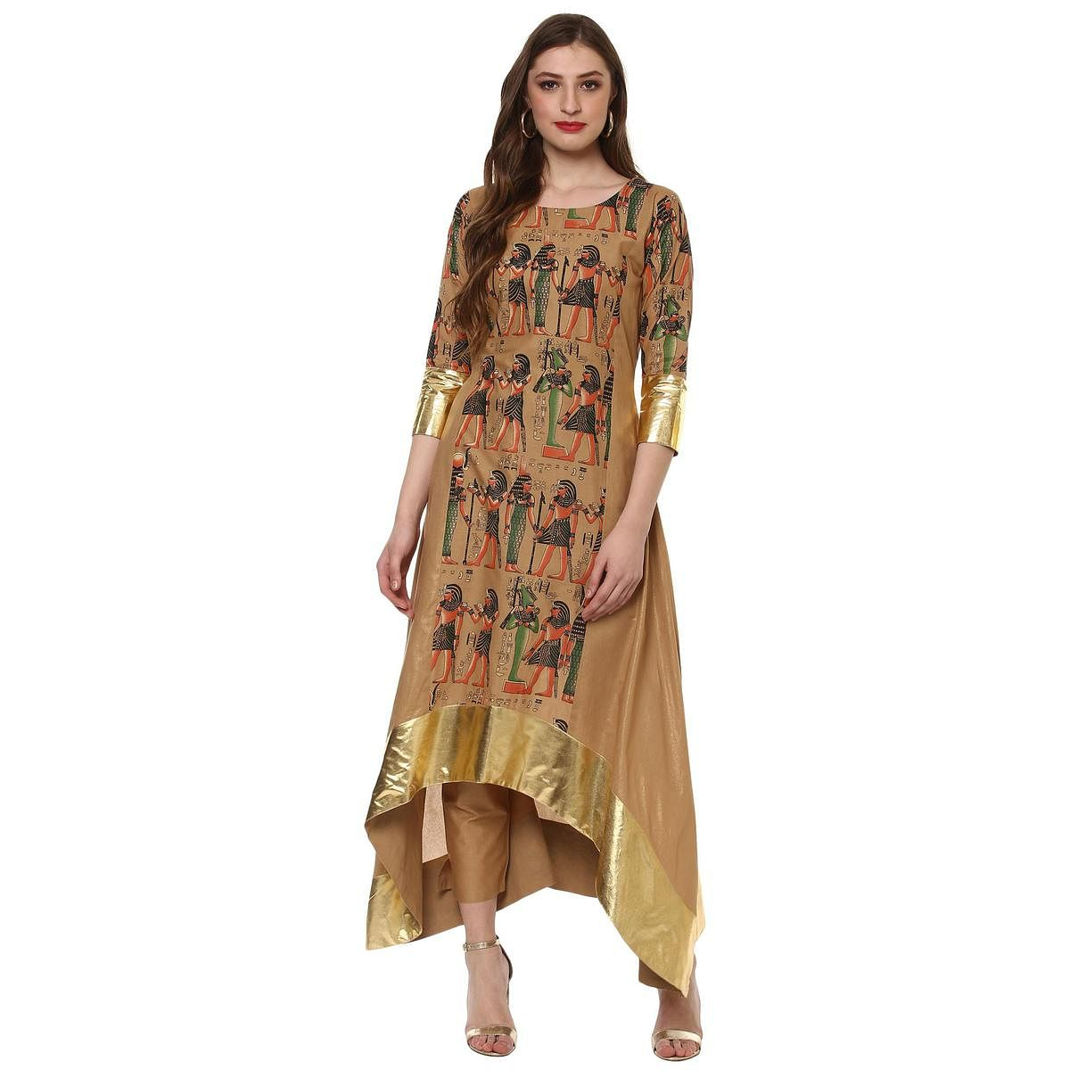 Ahalyaa - Beige Colored High Low Flared Party wear Cotton Kurta
