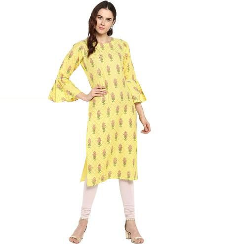 AHALYAA - Yellow Cotton Kurta with Fit & Flare Sleeves