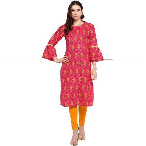 AHALYAA - Pink Cotton Kurta with Fit & Flare Sleeves