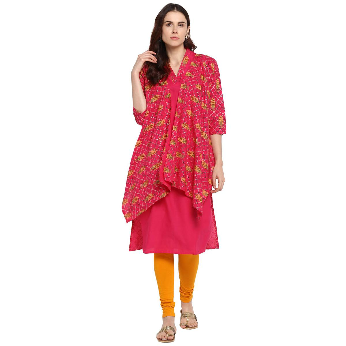 AHALYAA - Pink Colored Cotton Kurta with Attached Faux Shrug