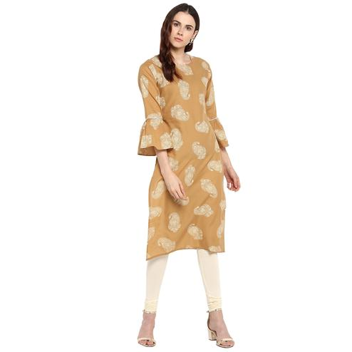 AHALYAA - Beige Printed Cotton Kurta with Fit & Flare Sleeves