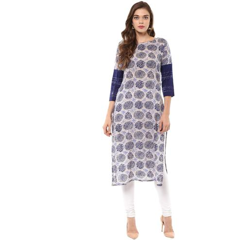 AHALYAA - Indigo & Beige Hand Printed Cotton Kurta for Women