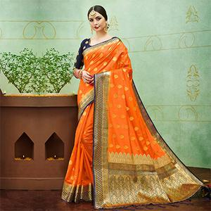 Orange-Blue Colored Designer Festive Wear Banarasi Silk Saree