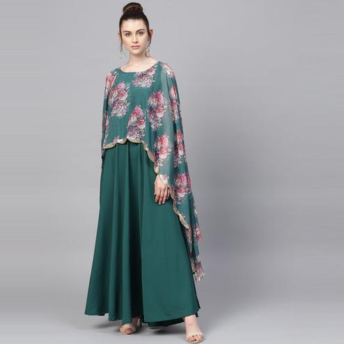 AHALYAA - Sea Green Floral Cape Style Kurta Gown