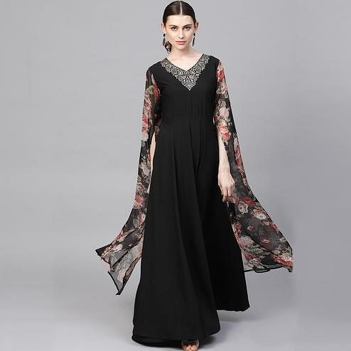 AHALYAA - Black Designer Partywear A-Line Kurta with Exaggerated Sleeves