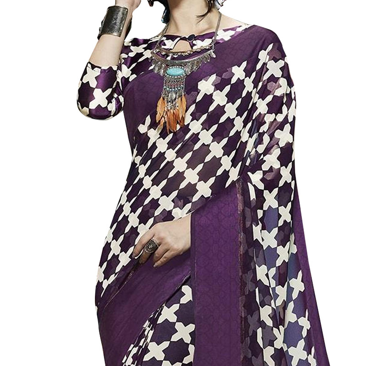 Stunning Purple Designer Printed Weightless Georgette With Satin Border Saree