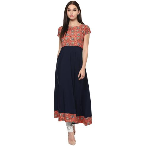 AHALYAA - Red & Navy Colored A-line Faux Crepe Kurti