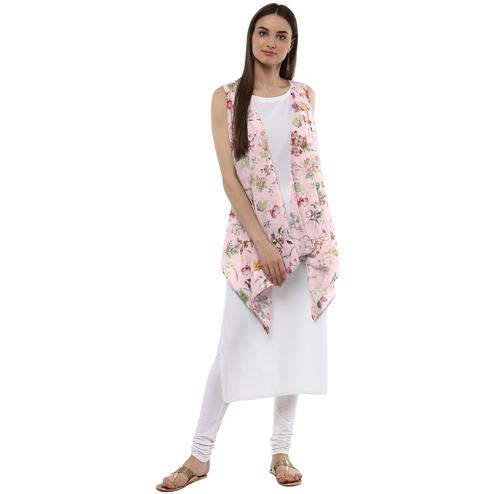 AHALYAA - White & Pink Floral Scarf Cape attached Crepe Straight Kurta