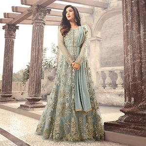 Stunning Light Blue Colored Designer Embroidered Partywear Net Abaya Style Anarkali Suit