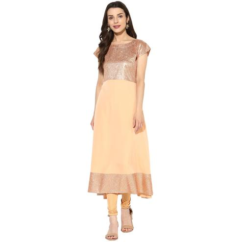 AHALYAA - Peach Colored Partywear Faux Crepe Anarkali