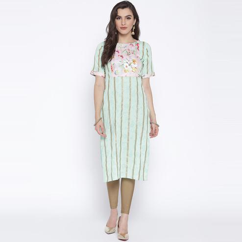AHALYAA - Pastel Green Colored Casual Floral Striped Crepe Straight Kurta