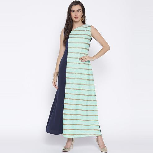 AHALYAA - Flared Blue Color Blocked Kurta Dress with Front Slit