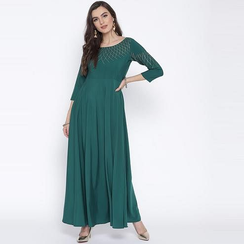 AHALYAA - Blue Green Flared Party Wear Crepe Kurti
