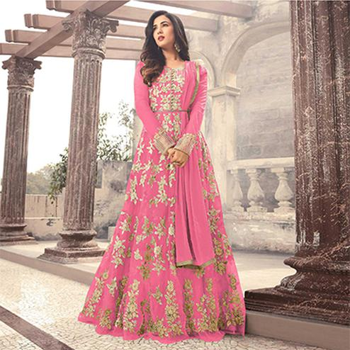 Elegant Pink Colored Designer Embroidered Partywear Net Abaya Style Anarkali Suit