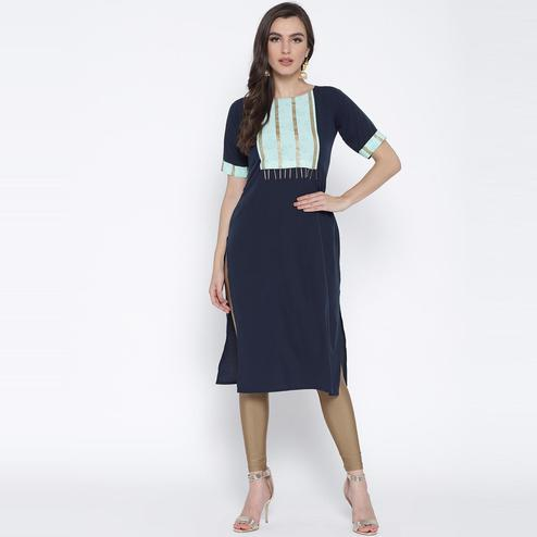 AHALYAA - Blue Colored Casual Crepe Straight Kurta With Printed Yoke & Fringe Detail