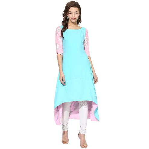 AHALYAA - Sky Blue Color Short Sleeve And Boat Neck Crepe Kurti