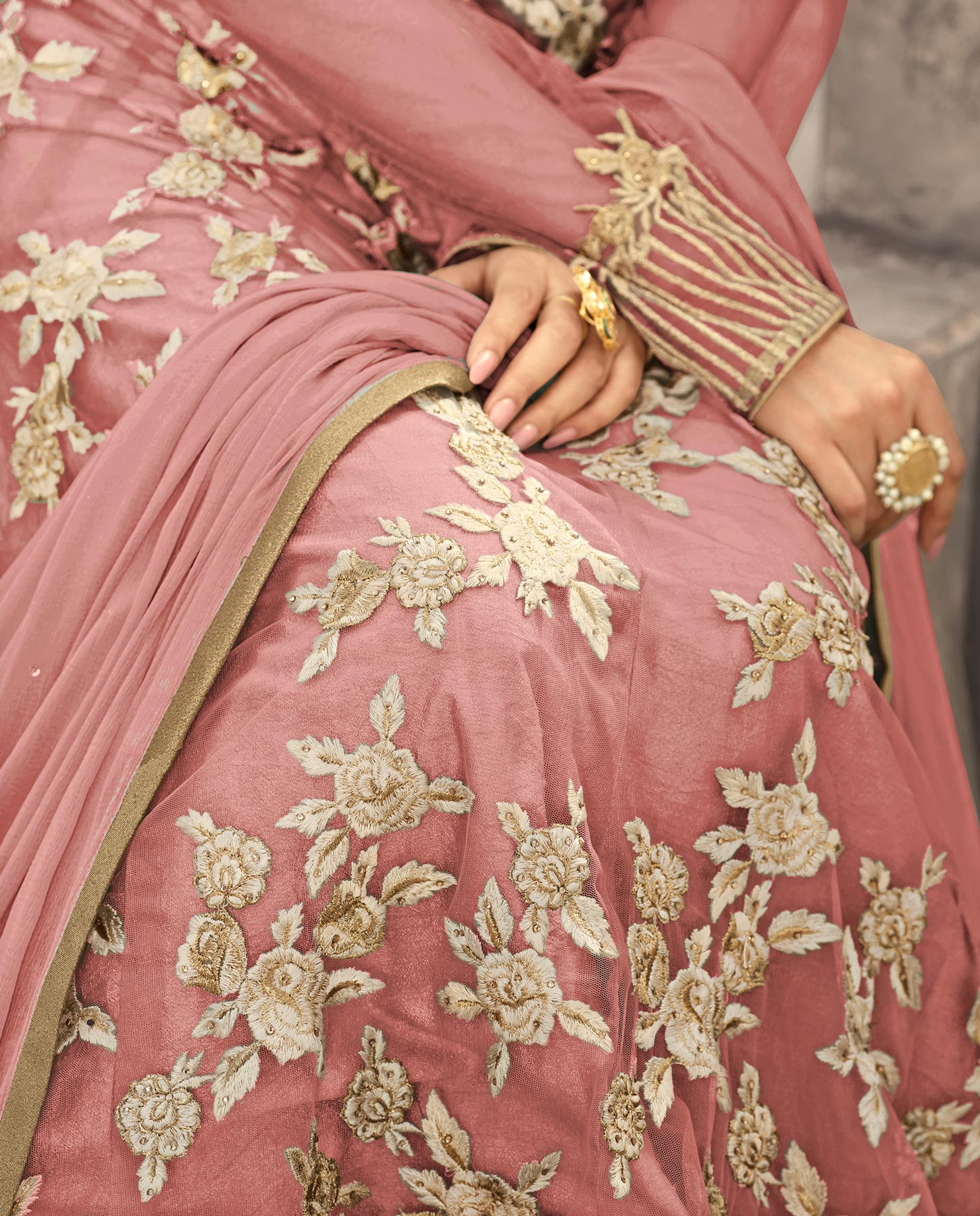 Mesmerising Peach Colored Designer Embroidered Partywear Net Abaya Style Anarkali Suit