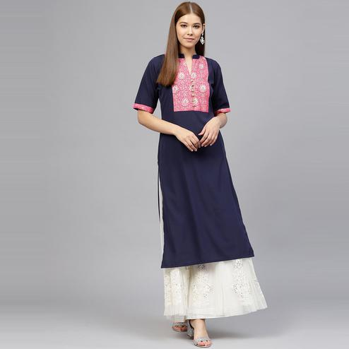 AHALYAA - Blue Colored Foil Print Straight Crepe Kurta