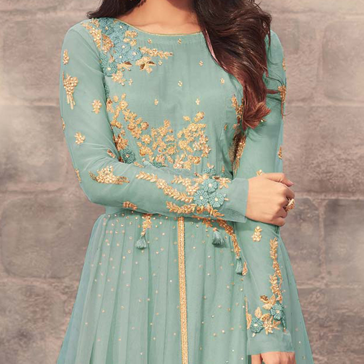 Ravishing Sky Blue Colored Designer Embroidered Partywear Net Abaya Style Anarkali Suit