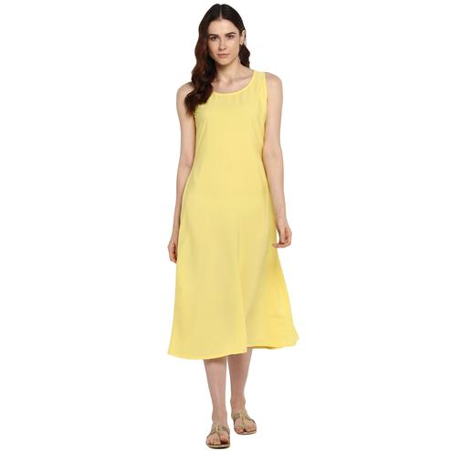 AHALYAA - Yellow Colored Casual Plain Crepe Flared Underslip for transparent Kurtas