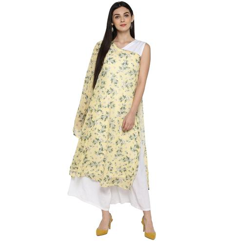 AHALYAA - Light Yellow Colored Casual Floral Georgette Kurta