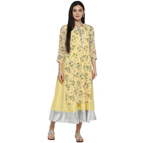 AHALYAA - Yellow Colored Casual Floral Georgette  & Faux Silk Layered Kurta