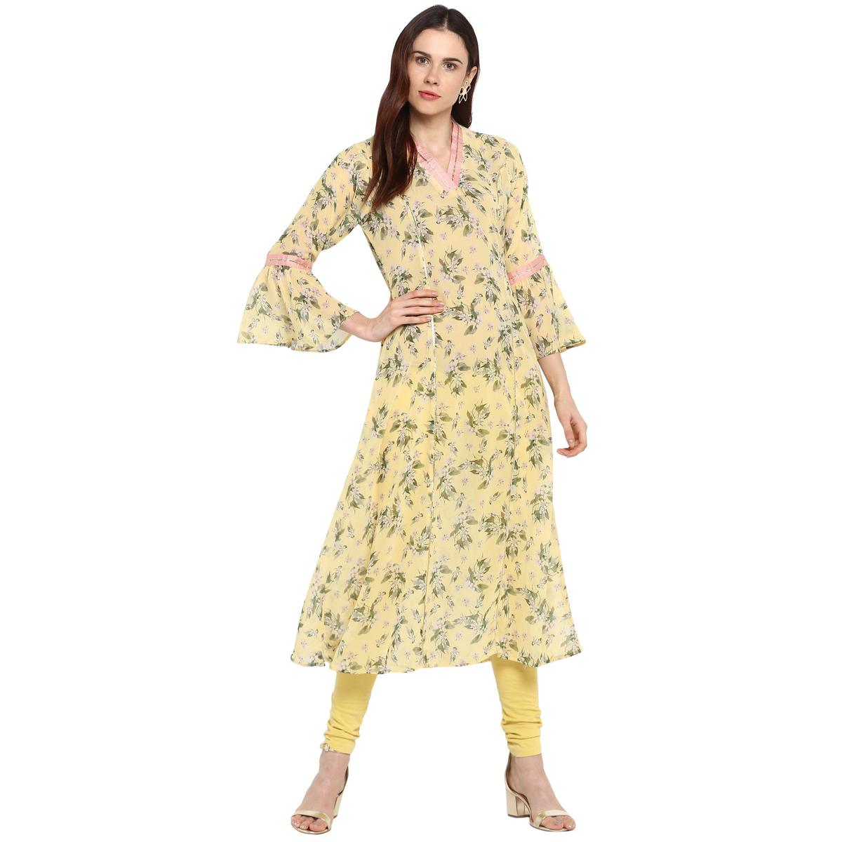AHALYAA - Yellow Colored Casual Floral Flared See Through Georgette Kurta with Fit & Flared Sleeves