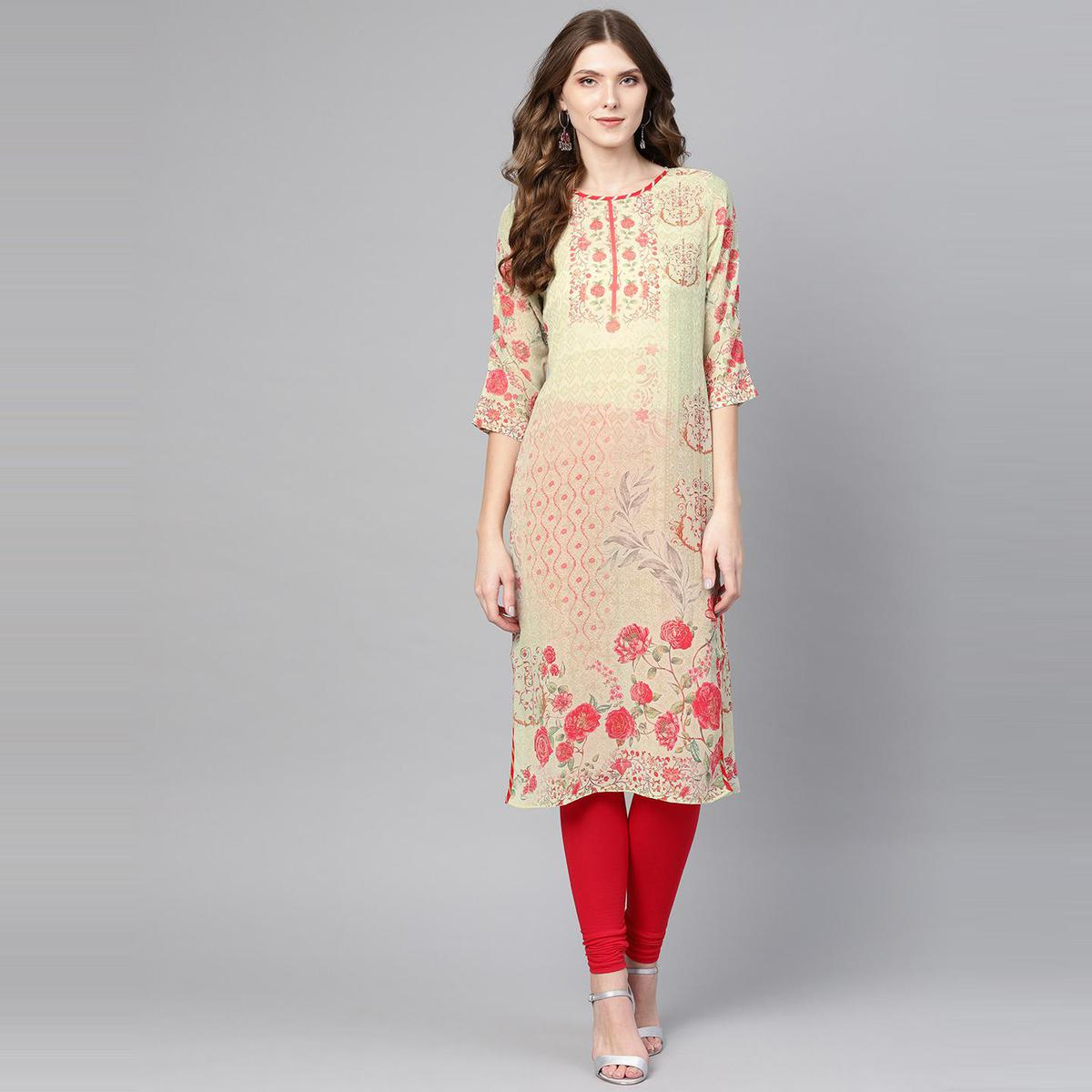 AHALYAA - Green Colored Casual Printed Georgette Straight Kurta for Women
