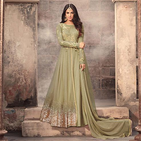 Gorgeous Green Colored Designer Embroidered Partywear Net Abaya Style Anarkali Suit