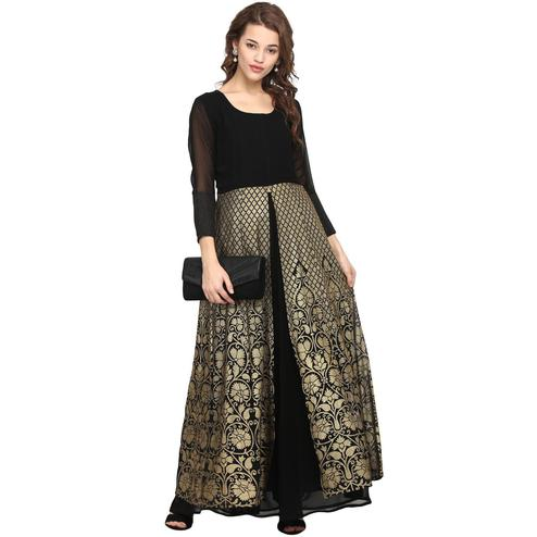AHALYAA - Black Colored Partywear 3/4th Sleeve And Round Neck Georgette Kurti