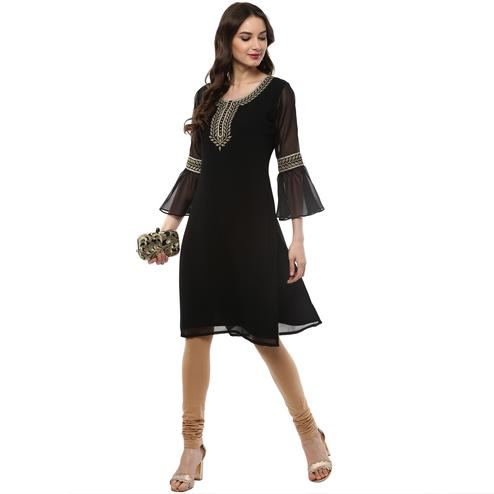 AHALYAA - Black Colored Casual Georgetter Kurta with Flared Sleeves