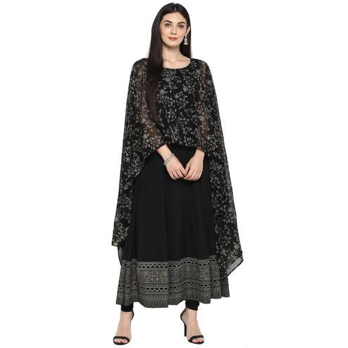 AHALYAA - Black Colored Partywear Cape Style Long Kalidar Georgette, Faux Crepe Kurta
