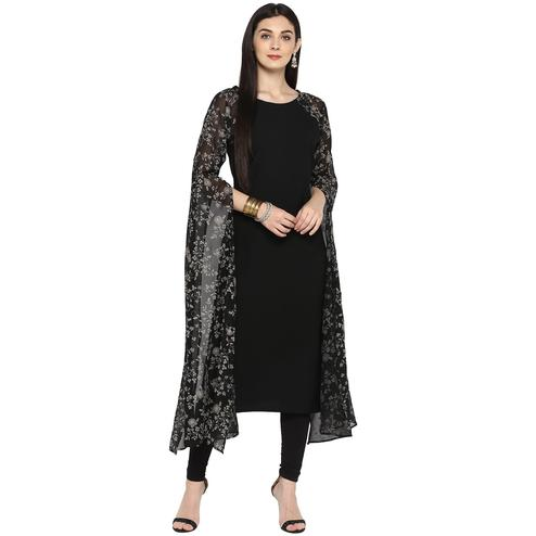 AHALYAA - Black Colored Partywear Georgette, Faux Crepe Kurta with Printed Exaggerated Fit Flare Sleeves