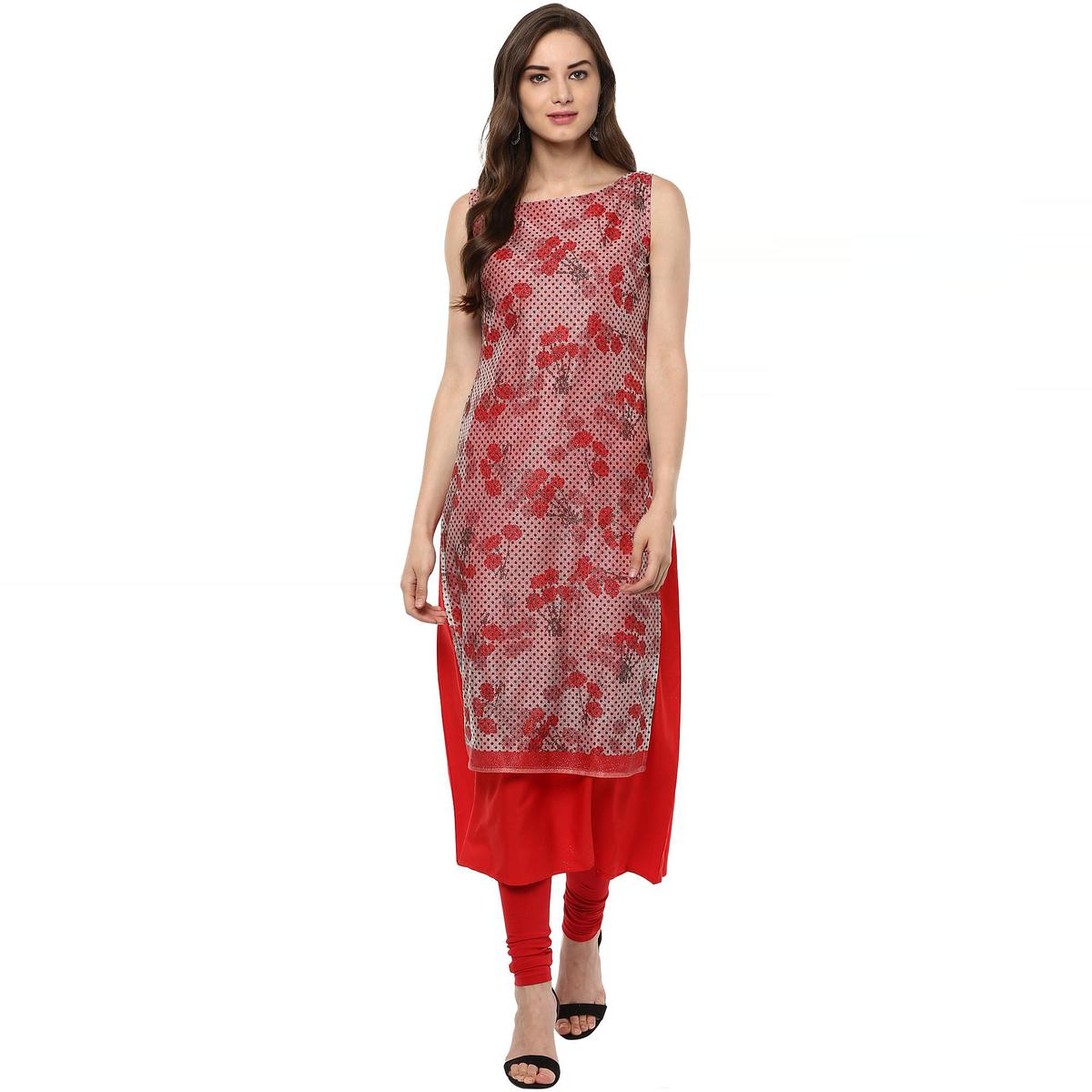 AHALYAA - Red Colored Double Layered A- line Glitter Lycra Crepe Kurti for Women
