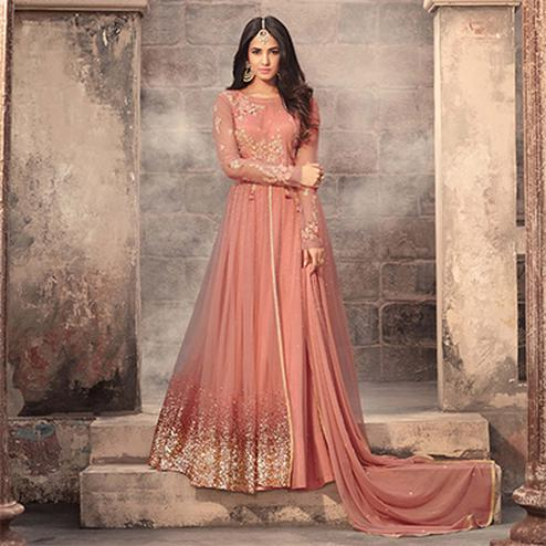 Graceful Peach Colored Designer Embroidered Partywear Net Abaya Style Anarkali Suit