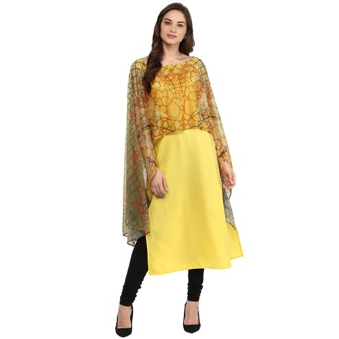 AHALYAA - Yellow Colored Casual Cape Style Crepe Kurta for women