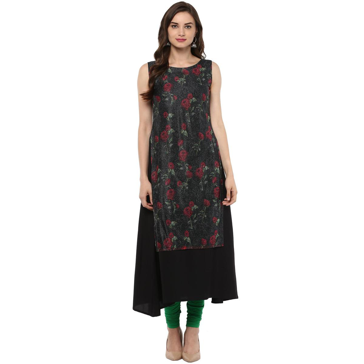 AHALYAA - Black Colored Casual Double Layer rose print  A- line crepe Kurti for Women